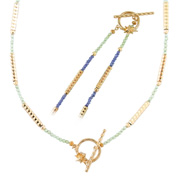 photo:18K Yellow Gold peridot and iolite design necklace