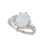 photo:18K White Gold moon stone design ring 3.5ctUP