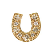 photo:18K Yellow Gold horseshoe design rough diamond pendanthead